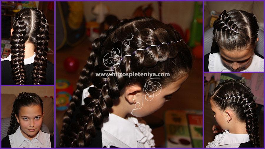 Прическа с двумя бантами и косами на 1 сентября9